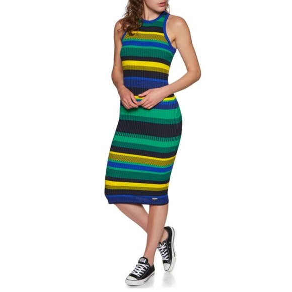 Superdry Womens Knitted Stripe Midi Dress